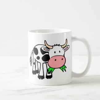 Cartoon Cow Chewing Grass Basic White Mug