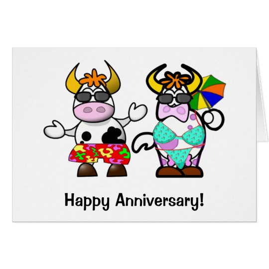 Cartoon Cow Couple Anniversary Card