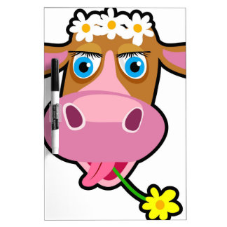 cartoon cow dry erase white board