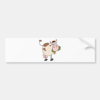 Cartoon cow eating grass bumper sticker