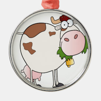 Cartoon cow eating grass Silver-Colored round decoration
