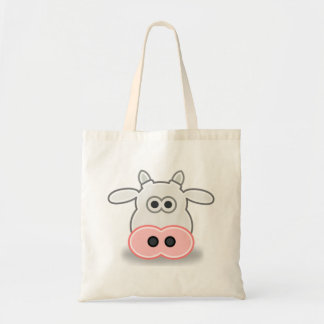 Cartoon Cow Face and Head Budget Tote Bag