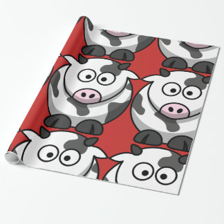 Cartoon Cow Glossy Wrapping Paper