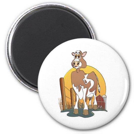 Cartoon Cow  Guernsey Barn 6 Cm Round Magnet