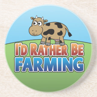 Cartoon Cow - I'd Rather Be Farming Coaster