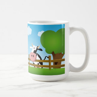 Cartoon Cow In Field Mug