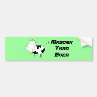 Cartoon Cow, Madder Than Ever Bumper Sticker
