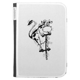 Cartoon Cow on Pogo Stick Cases For Kindle