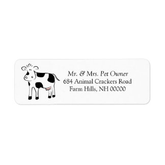 Cartoon Cow Theme Return Address Labels Stickers