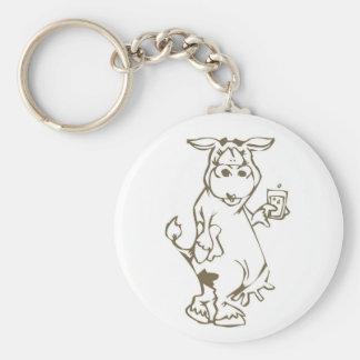 Cartoon Cow with a Glass of Milk Keychain