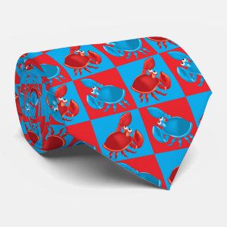 Cartoon crab mosaic tie