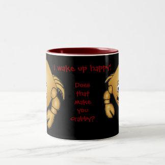 Cartoon Crab mug. I wake up happy! Two-Tone Mug