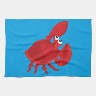 Cartoon crab tea towel