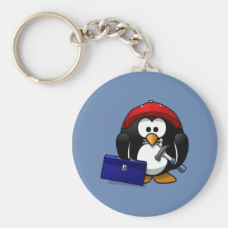 Cartoon Craftsman Penguin with Blue Background Keychain