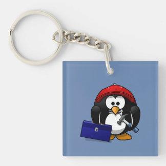 Cartoon Craftsman Penguin with Blue Background Single-Sided Square Acrylic Key Ring