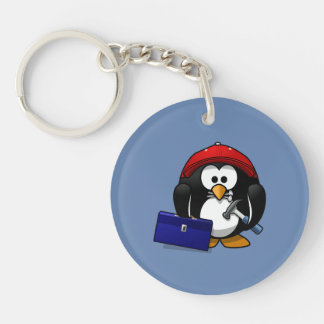 Cartoon Craftsman Penguin with Blue Background Single-Sided Round Acrylic Keychain