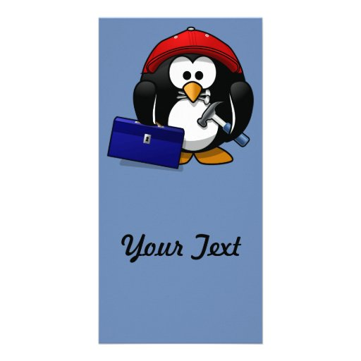 Cartoon Craftsman Penguin with Blue Background Picture Card