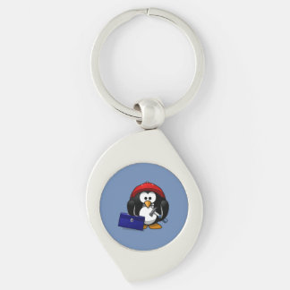Cartoon Craftsman Penguin with Blue Background Silver-Colored Swirl Key Ring