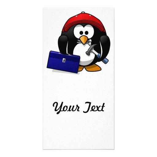 Cartoon Crafty Penguin Picture Card