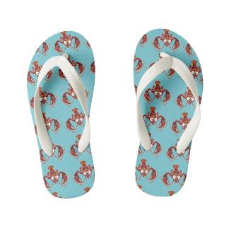 cartoon crayfish kid's flip flops