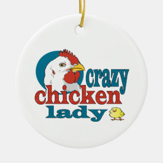Cartoon Crazy Chicken Lady Round Ceramic Decoration