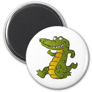 Cartoon crocodile. 6 cm round magnet