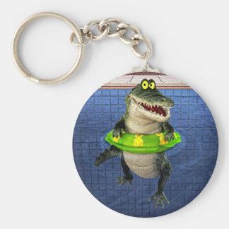 Cartoon Crocodile in The Deep End Key Ring