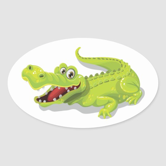 Cartoon Crocodile Oval Sticker