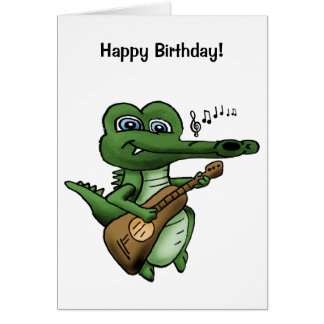 Cartoon crocodile playing a guitar. card