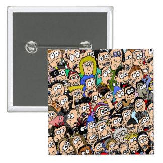 Cartoon Crowd Scene Badge by Sam Backhouse