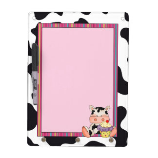 Cartoon Cupcake Cow Dry Erase Board