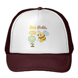 Cartoon: Cute bee collecting nectar from flower Trucker Hat