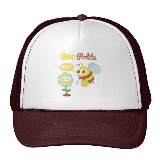 Cartoon: Cute bee collecting nectar from flower Mesh Hat