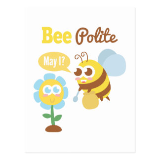 Cartoon: Cute bee collecting nectar from flower Postcard
