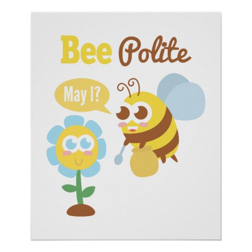 Cartoon: Cute bee collecting nectar from flower Poster