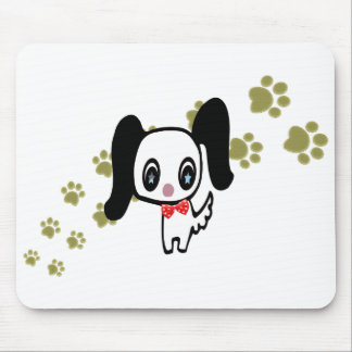 Cartoon cute dog and paws art mouse mat