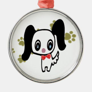 Cartoon cute dog and paws art Silver-Colored round decoration