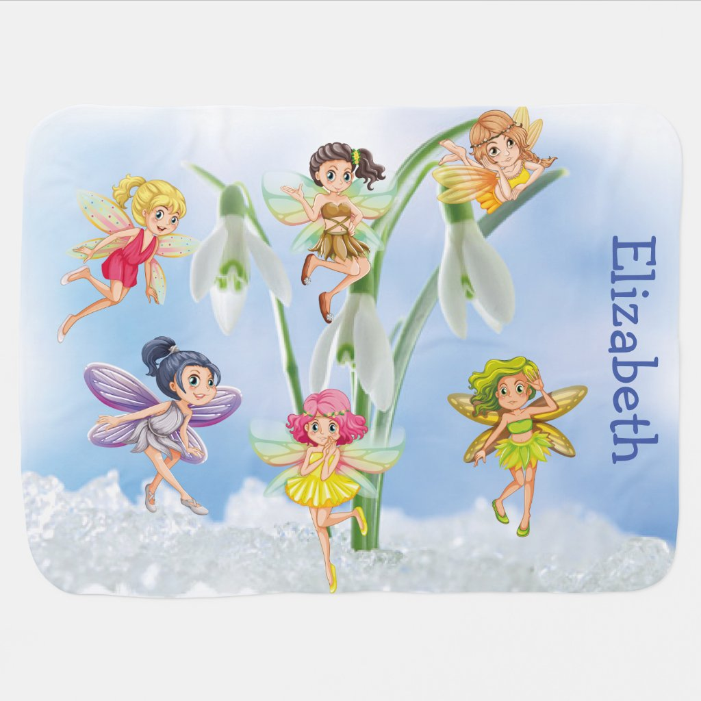 Cartoon Cute Girly Lily of the Valley Fairy Spring Baby Blanket