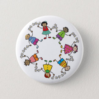 Cartoon Cute Happy Kids Friends Around The World 6 Cm Round Badge