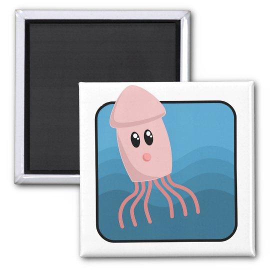 Cartoon Cuttlefish Square Magnet