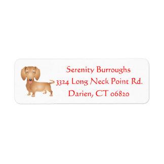 Cartoon Dachshund Brown Puppy Dog Personalized Return Address Label