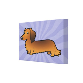 Cartoon Dachshund (longhair) Canvas Print
