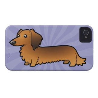 Cartoon Dachshund (longhair) iPhone 4 Case-Mate Cases