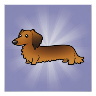 Cartoon Dachshund (longhair) Poster