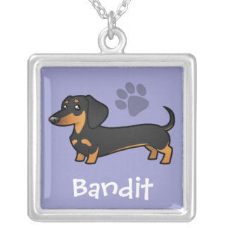 Cartoon Dachshund (smooth coat) (add pets name) Silver Plated Necklace