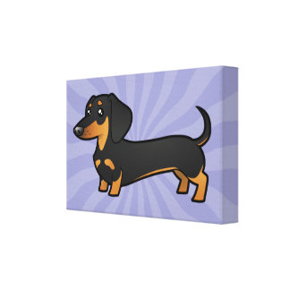 Cartoon Dachshund (smooth coat) Canvas Print