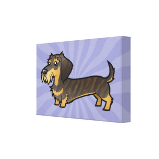 Cartoon Dachshund (wirehair) Canvas Print