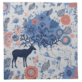 Cartoon Deer Floral Pattern Napkin
