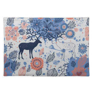 Cartoon Deer Floral Pattern Placemat