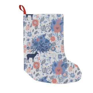 Cartoon Deer Floral Pattern Small Christmas Stocking